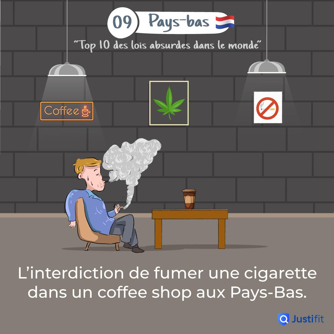 """Alt=""""L'interdiction de fumer une cigarette dans un coffee shop aux Pays-Bas"""""""