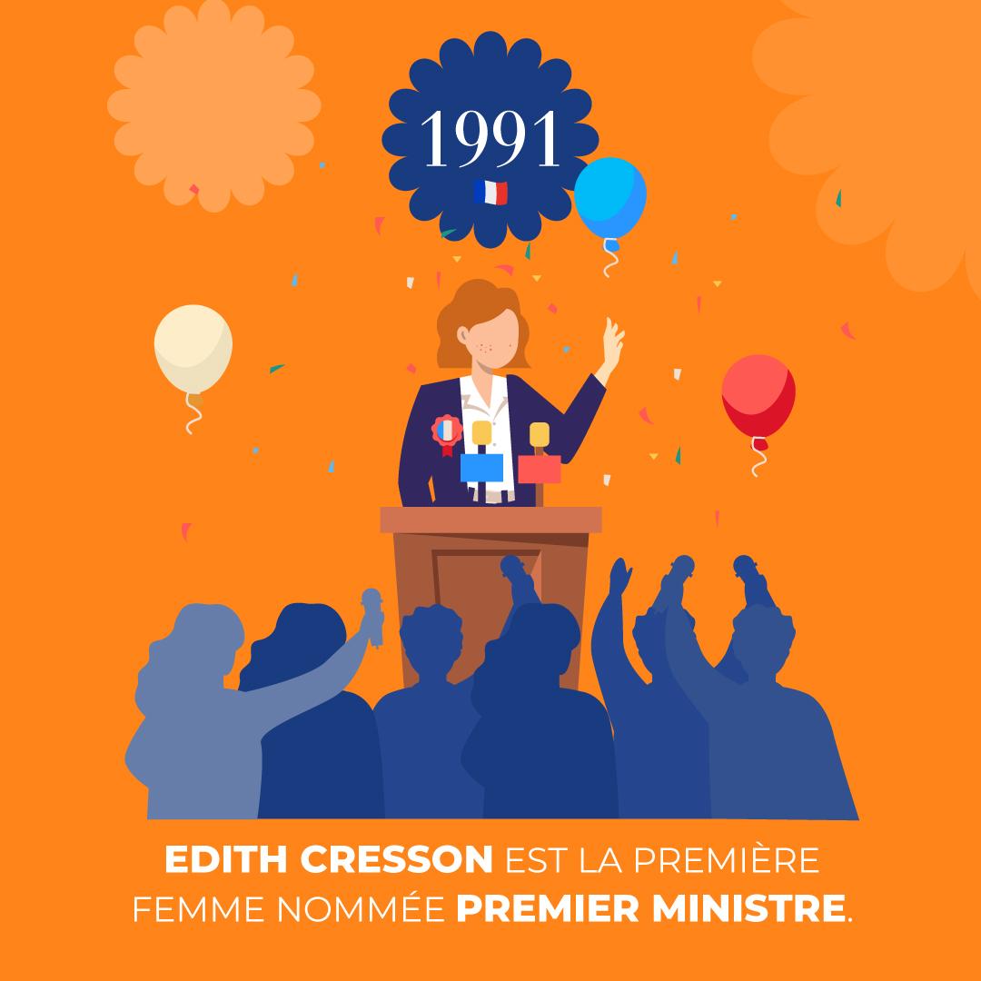 """Alt=""""Nomination de la première femme «premier ministre», Edith Cresson"""""""